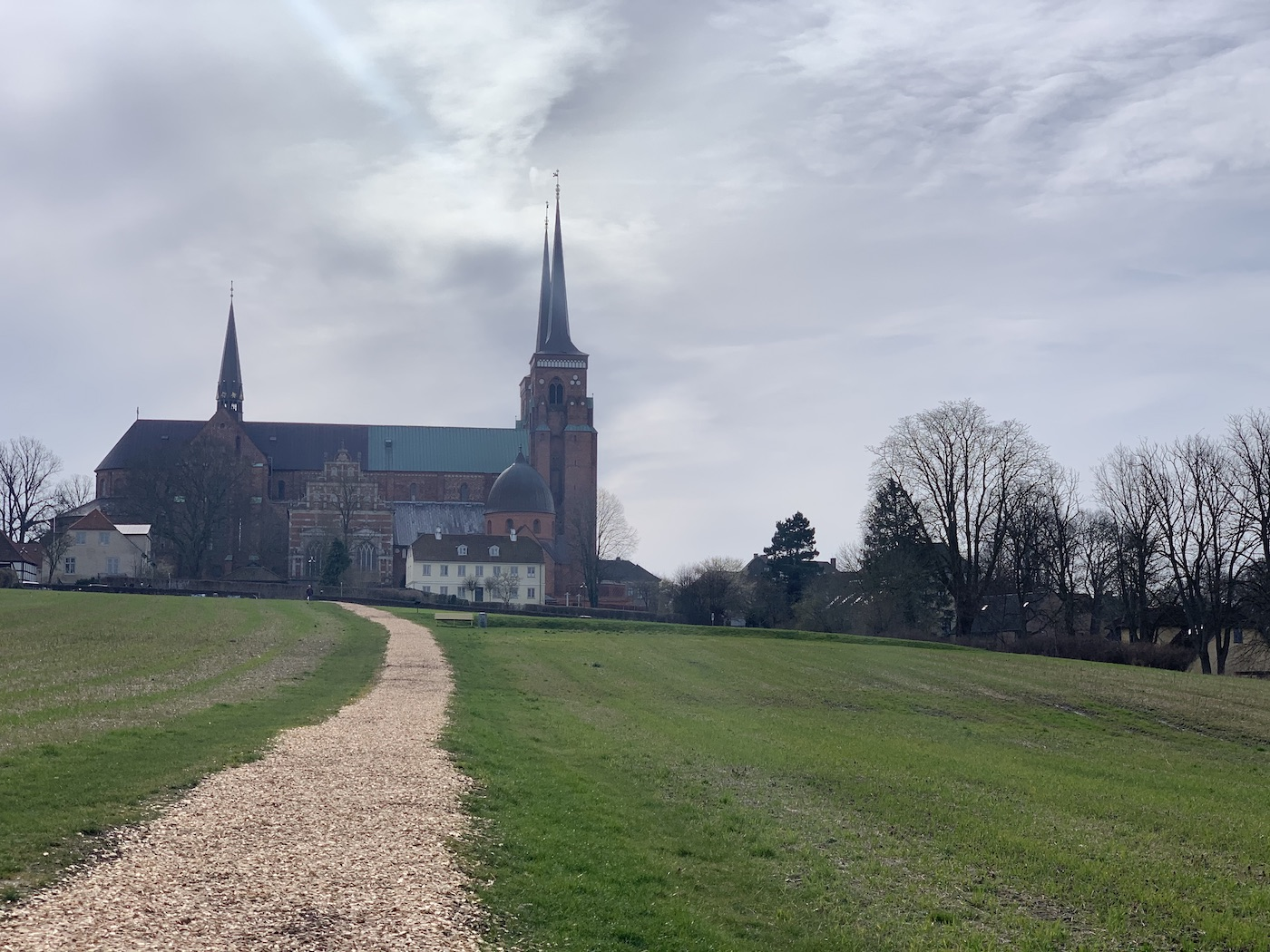 View of Roskilde Cathedral through a park